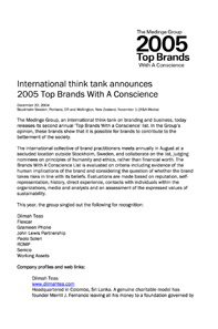 Brand with a Conscience - 2005